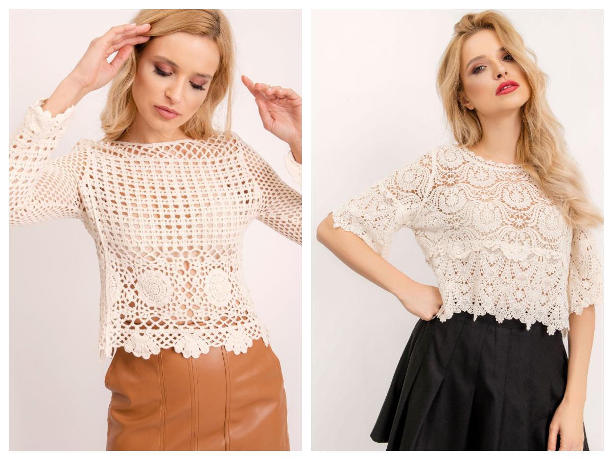 Stylowe bluzki ażurowe w eleganckiej stylizacji ze spódnicą