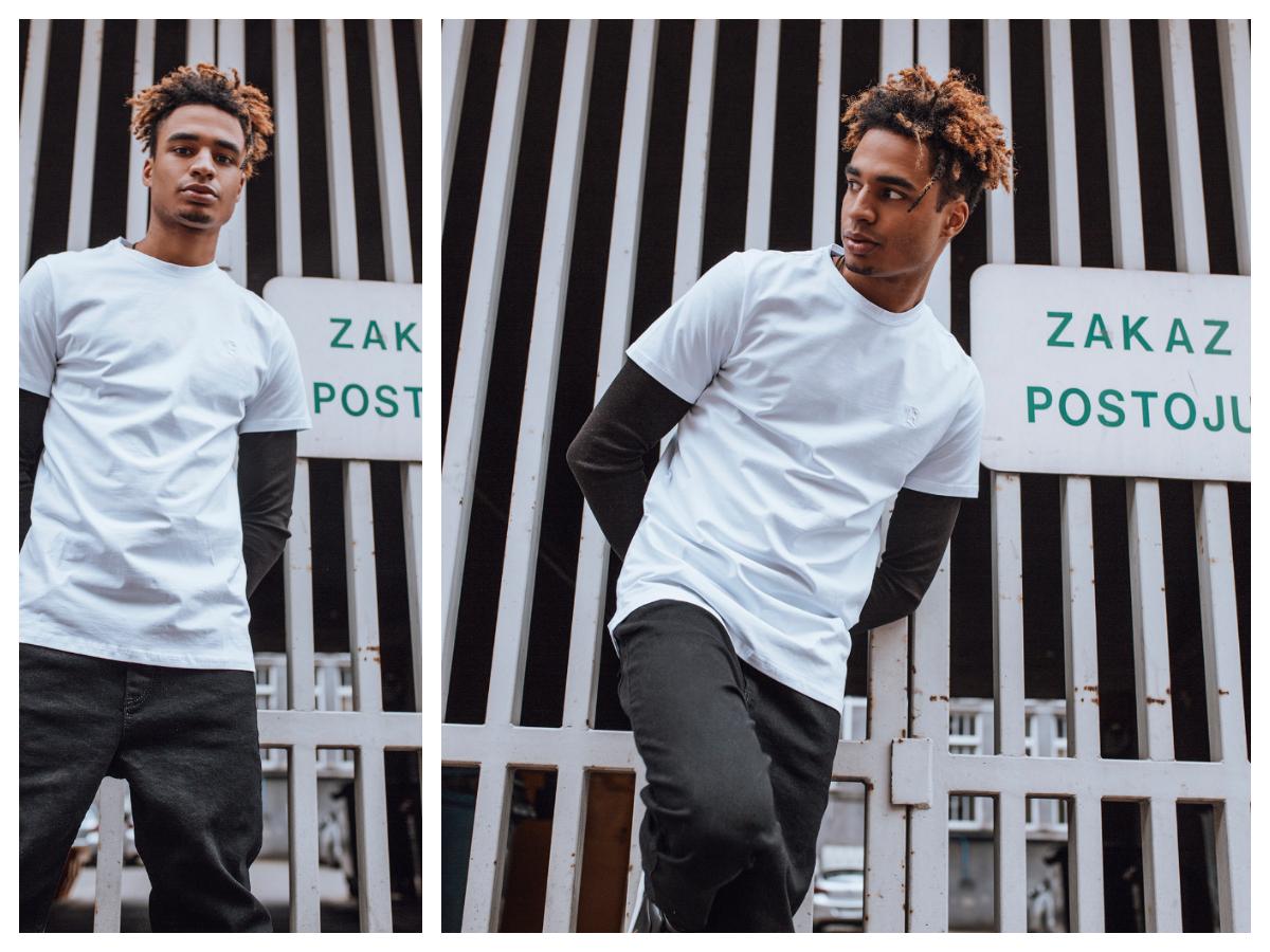 Biały męski t-shirt z czarnymi joggerami