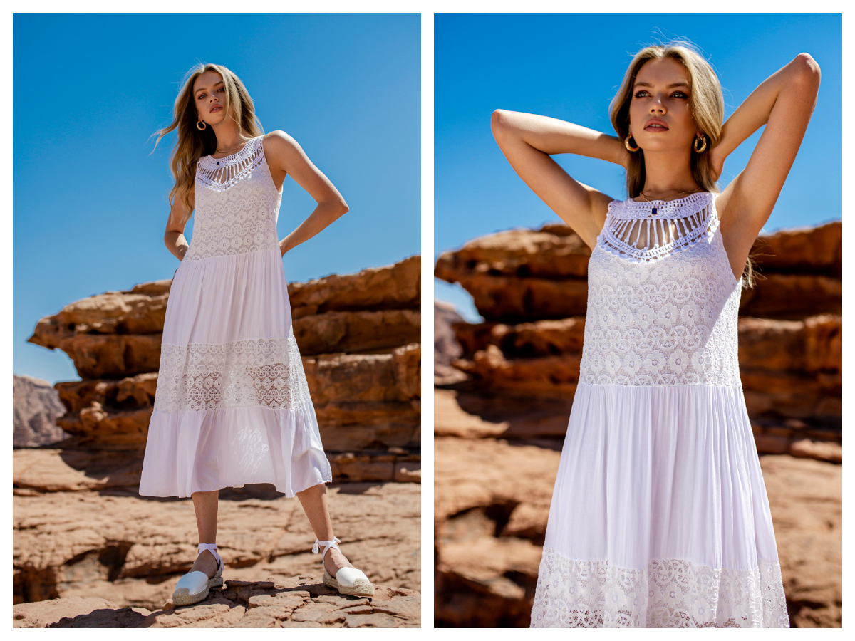 Plecione sukienki z ozdobnym dekoltem
