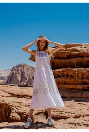 Plecione sukienki na ramiączkach białe